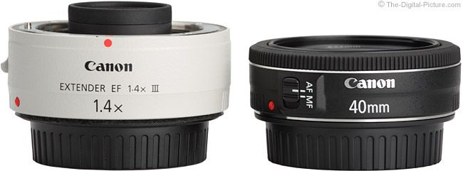 Canon EF 40mm f/2.8 STM Pancake Lens Compared to 1.4x Extender