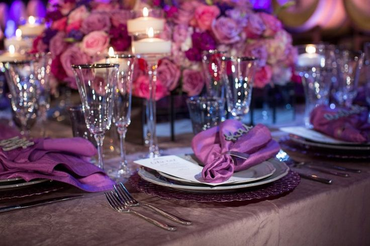 purple wedding tablescape inspiration