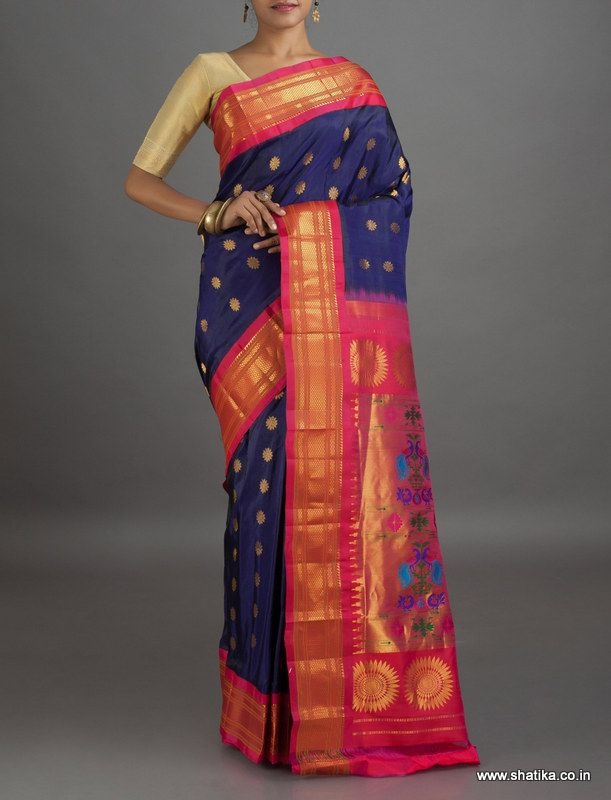 Sangeeta Royal Blue Flower Bootis #PureZari #PaithaniSilkSaree