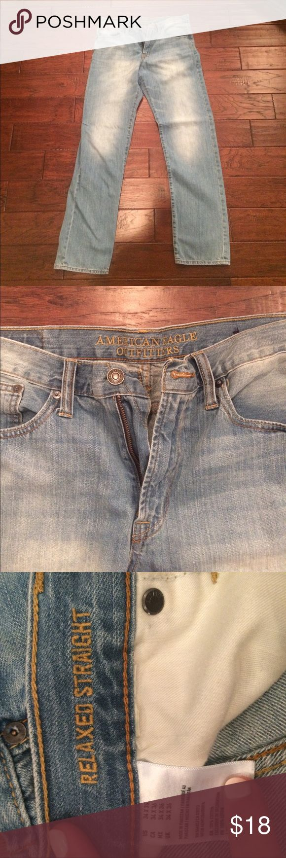 Men's Jeans, Relaxed Straight American Eagle Men's American Eagle jeans, light wash, relaxed straight, size 34x36 American Eagle Outfitters Jeans Straight