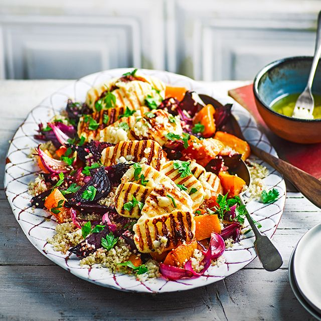 The 86 best vegetarian vegan recipes images on pinterest vegan roasted vegetable quinoa salad with riddled halloumi 2016 bbc good food forumfinder Gallery