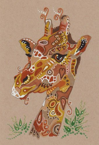 LWick Original Art animal zoo giraffe Africa doodle design leaves