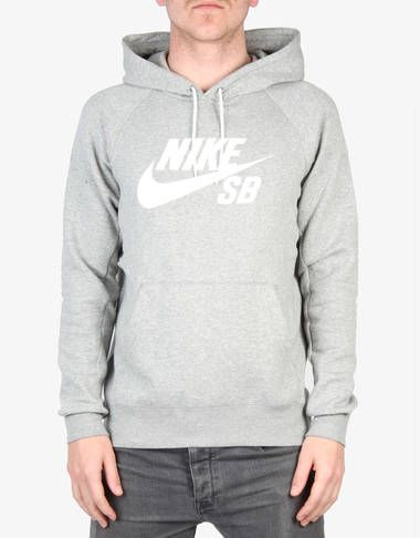 Nike SB Icon Pullover Hoodie Fleece - Dk Grey Heather/White - RouteOne.co.uk