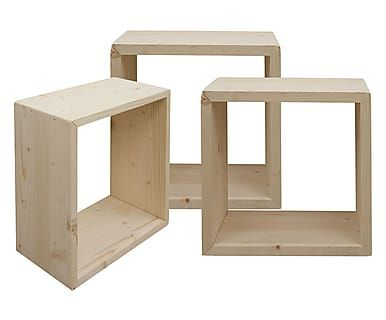 Set di 3 mensole quadrate in legno naturale, max 35x35x15 cm - bagno