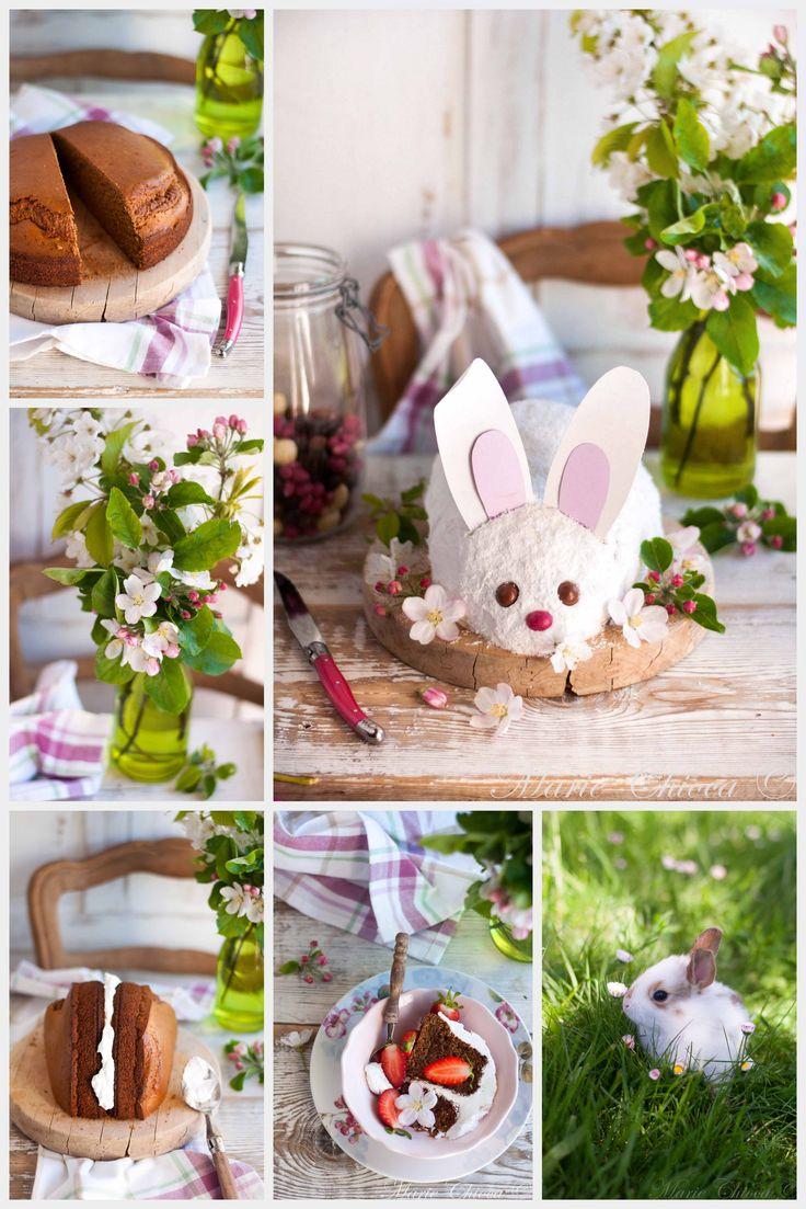 Blancheline, la jolie Lapinette de Pâques (gâteau avec génoise, crème fouettée vanille)