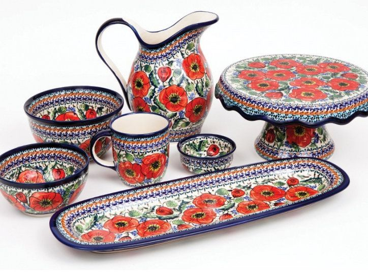Pottery Set In A Poppy Pattern By Zakłady Ceramiczne Polish Extraordinary Polish Pottery Patterns