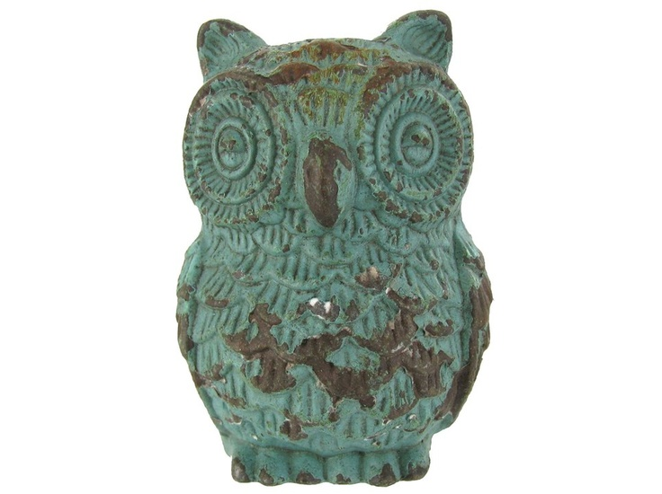 Turquoise colored/ patina looking Pewter Owl Knob. $5.99 Hobby Lobby. Could make cute coat hanger hooks for nursery.