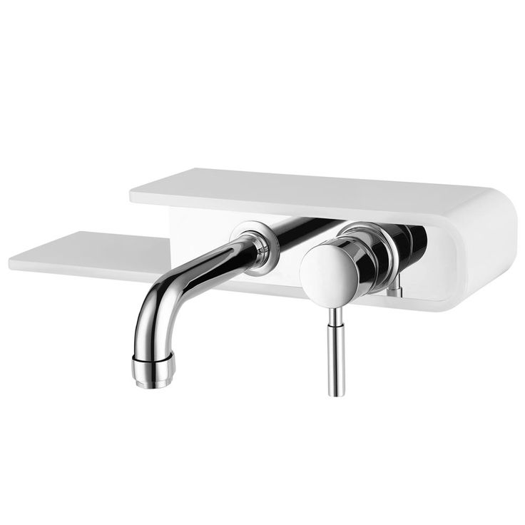Vesta Wall Mounted Tap with Shelf - Chrome & White Large Image