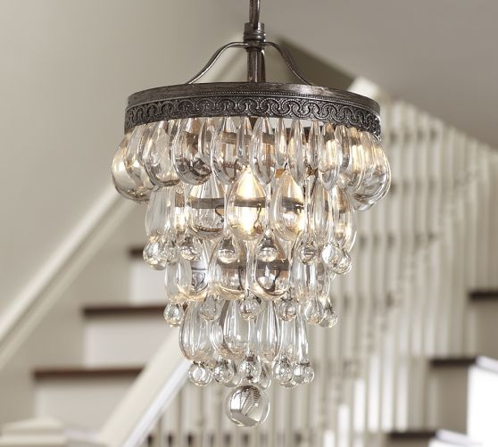 white bath ideas clarissa glass drop small round chandelier pottery barn