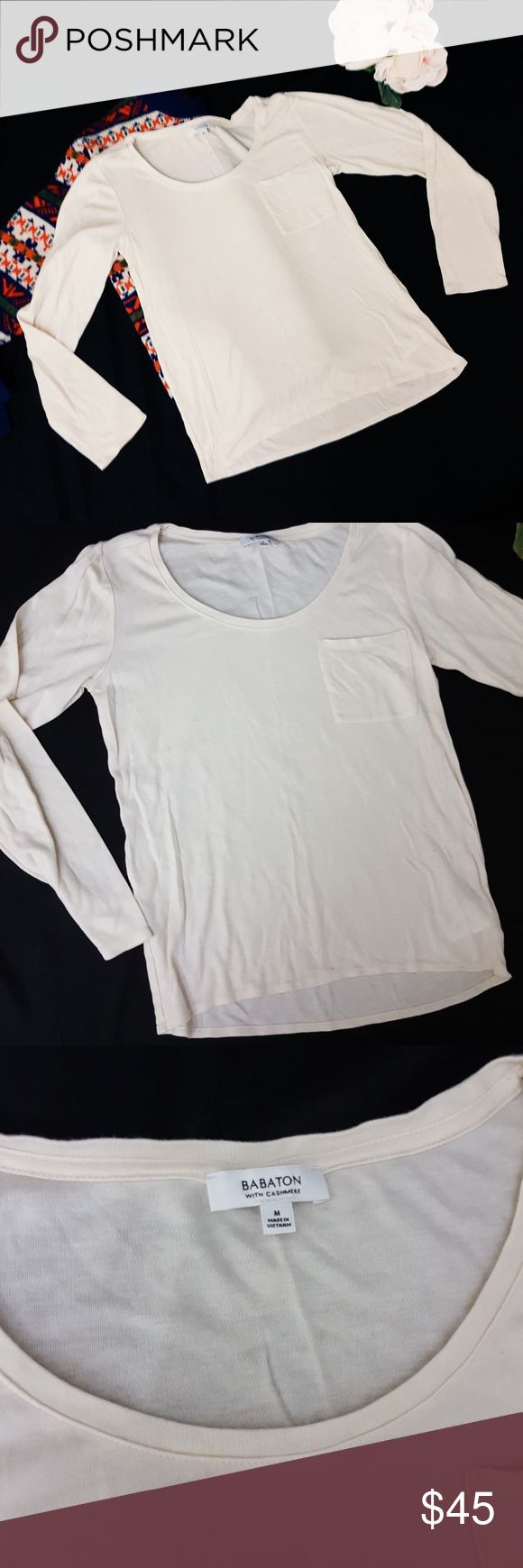 Babaton cream long sleeve top with Cashmere -C5 In good condition! Soft and luxurious Babaton cream colored top with cashmere.size medium. Used item: lovingly inspected for wear. Pictures show any signs of wear. Bundle up! Offers always welcome:) Babaton Tops Tees - Long Sleeve