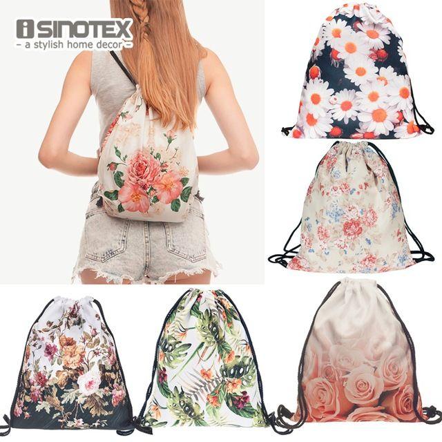 Fashion New Storage Bag 3D Flowers Printed Women Drawstring Shopping Bag Floral Pattern 30*39cm/11.8*15.4'' 1PCS/Lot