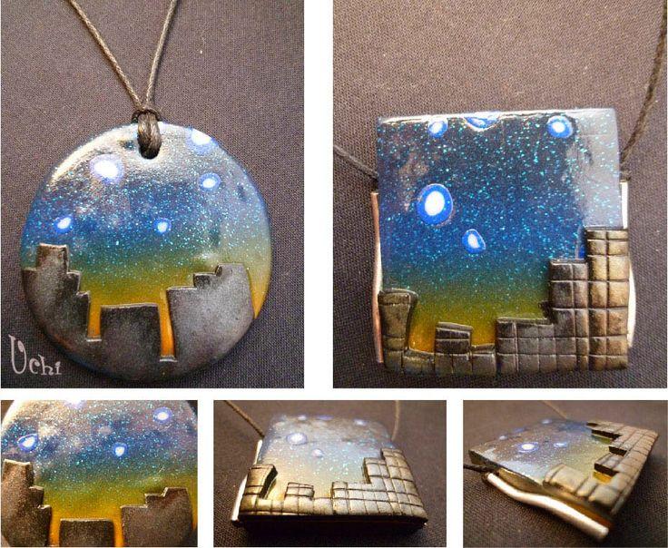 Night scene Tutorial.                         arcilla polimerica, polymer clay, fimo, bisuteria, jewelry, colgante, pendant, collar, necklace