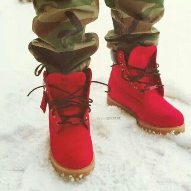 Red Timberlands With Spikes March 2017