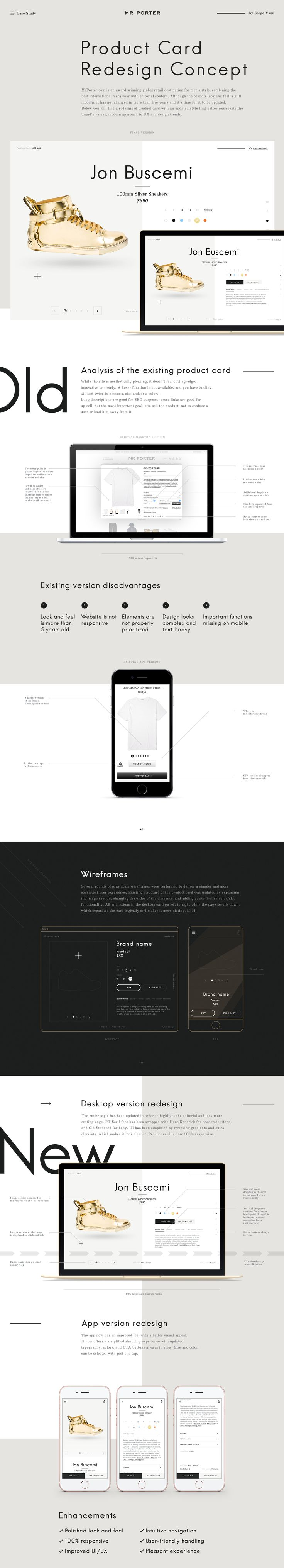 I came up with a case study describing the process behind the redesign of the desktop and mobile versions of the MRPORTER's product card. It will be relevant for those who design for Ecommerce.