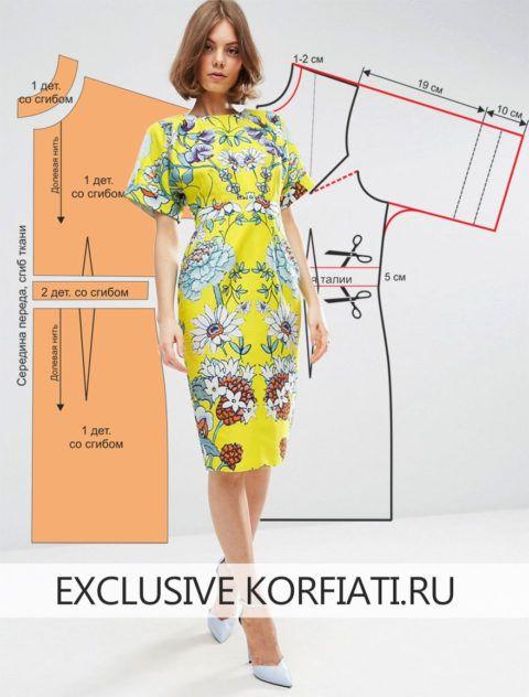 vestido recto, manga japonesa y ceñido mas arriba de la cintura