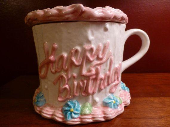Happy Birthday Cupcake Vase  Glazed Ceramic  Lidded