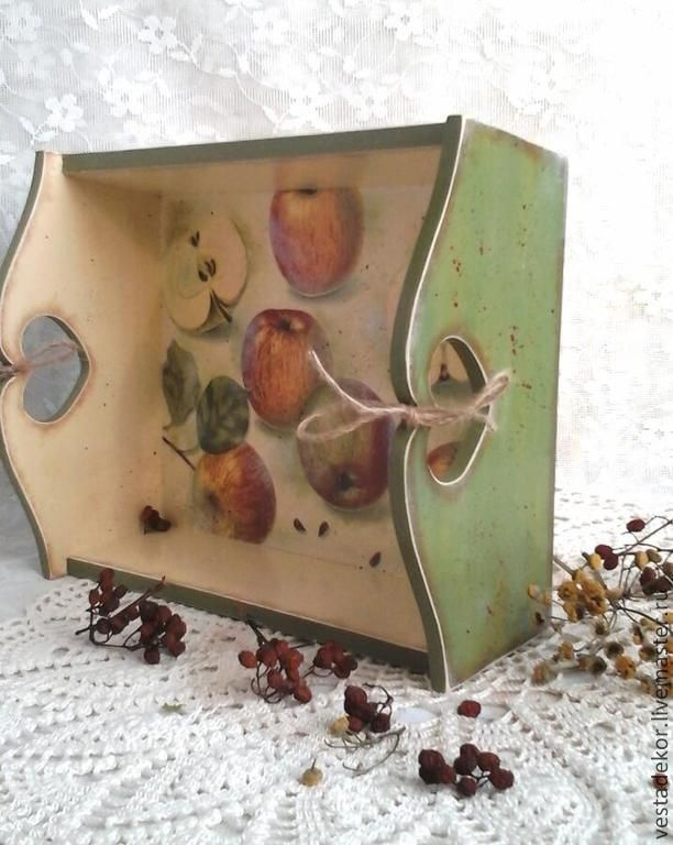 Короб -поднос,сухарница Яблочки - короб,сухарница,яблоки,поднос для кухни