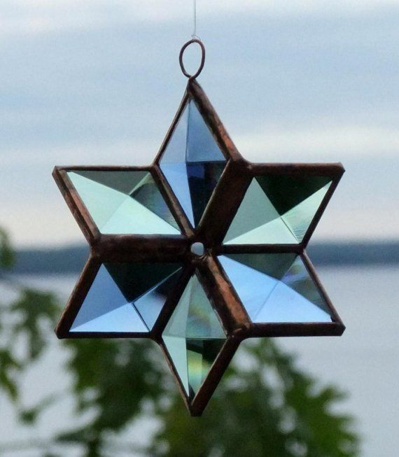 Three Dimensional Beveled Glass Star  Blue and by SNLCreations