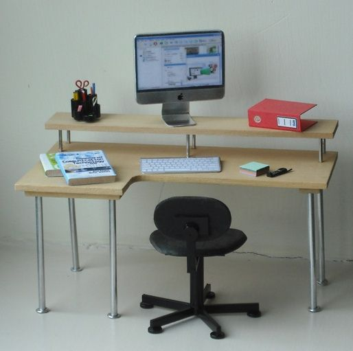 contemporary dollhouse furniture. the mini apple computer is what has me salivating over this dollhouse desk contemporary furniture