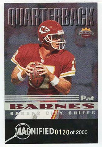 Pat Barnes # RK 10 - 1997 Score Board Playbook By The Numbers Football - Magnified Silver