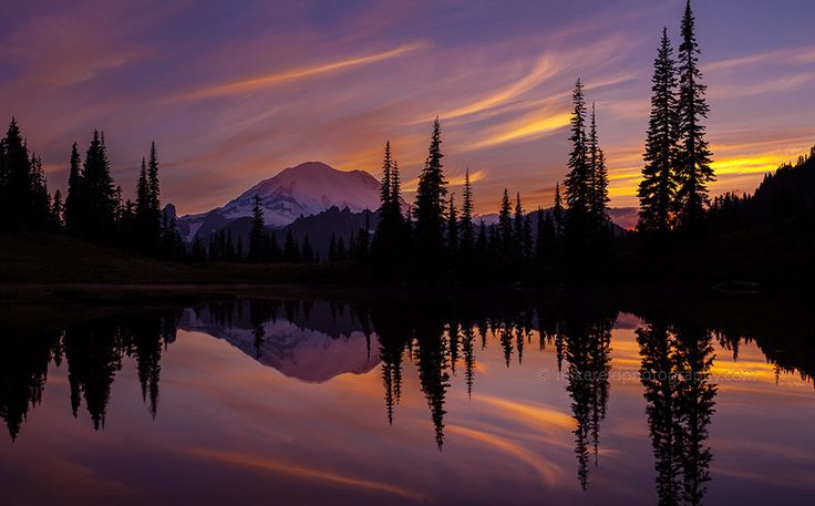 Tipsoo Searing Skies by Mike Reid (Mt. Rainier, Washington State)