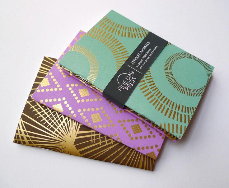 Foil Stamp Pocket Journal Notebook Set.