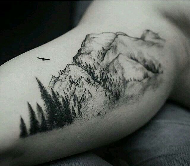 Mountains & forest tattoo