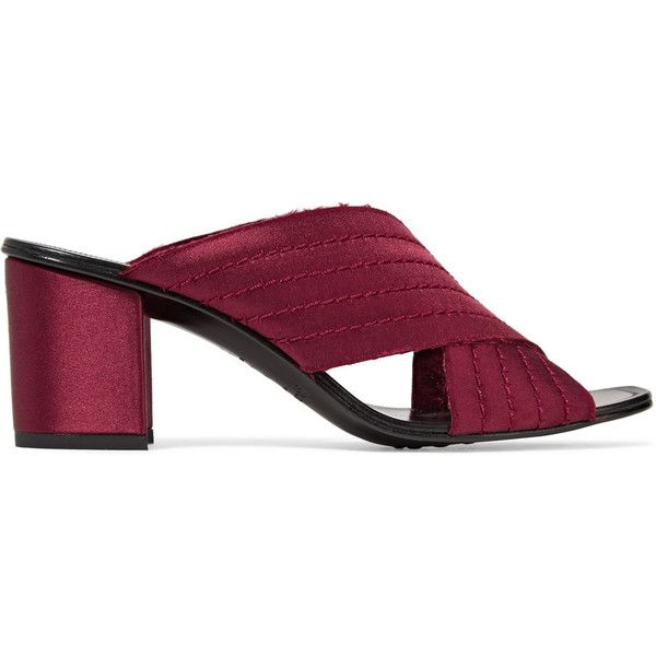 Pedro Garcia Xail quilted satin mules (410 CAD) ❤ liked on Polyvore featuring shoes, slip-on shoes, special occasion shoes, satin evening shoes, slip on mules and strap shoes