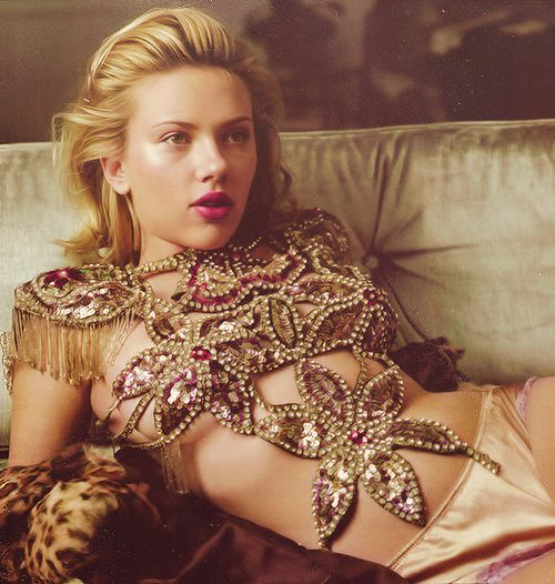 Scarlet Johansson rocking a burlesque inspired bodice and silk tap pants♥.•:*´¨`*:•♥
