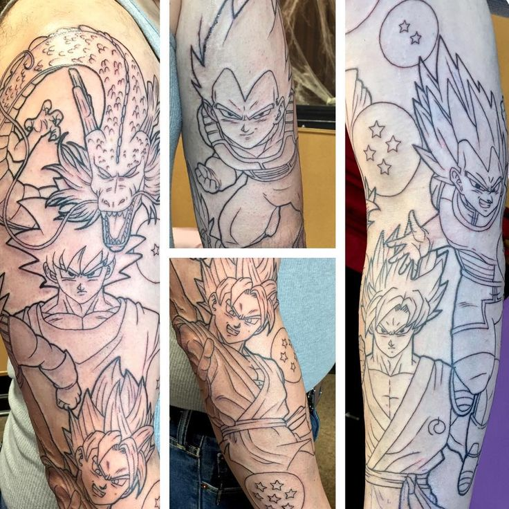 I promised some linework! Here's the #dragonballz full sleeve I started yesterday. So many huge tattoos this month! #animetattoo #goku #vegeta #supersaiyangod