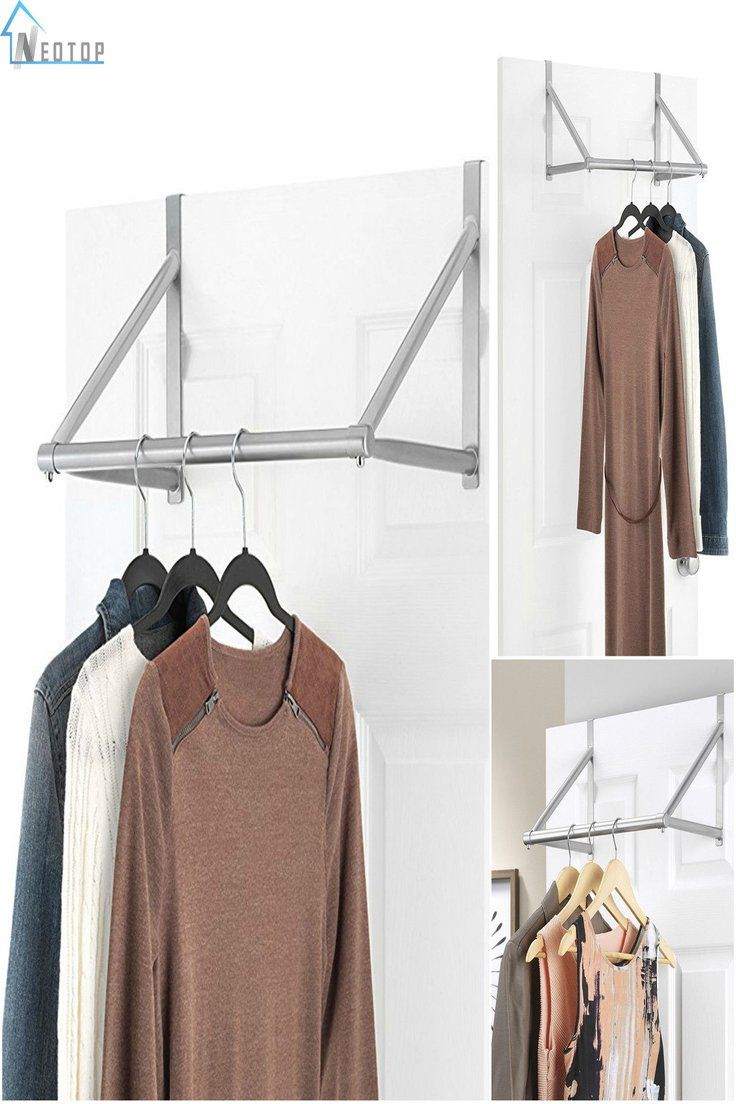 Details About Over The Door Clothes Hanging Bar Rack Valet Hanger