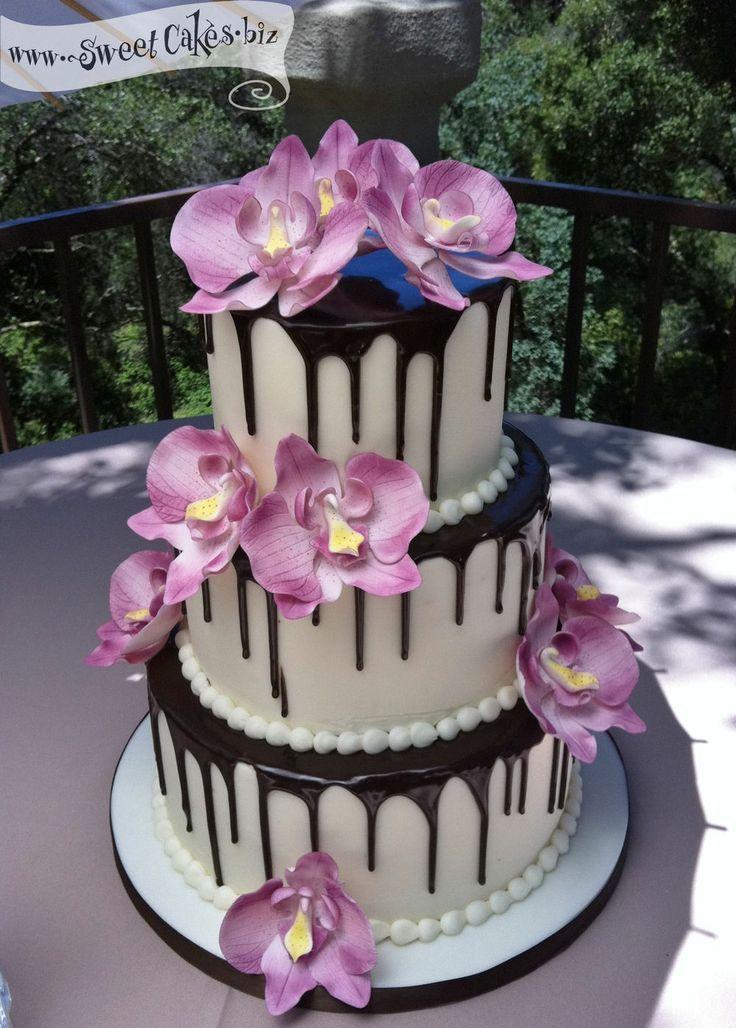Orchid Ganache Drip vanilla buttercream with a dark chocolate ganache drip and purple sugar flower orchids