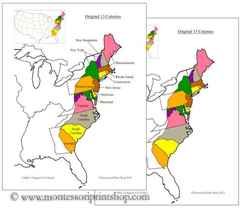 Original Colonies Of The USA Includes Maps Info Cards Part - Us map with the original 13 colonies