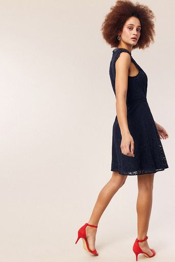3e6c1010bf1f Oasis, LACE TRIMMED SKATER DRESS Navy | ♛ Smart Casual ♛ To Buy @ Oasis ☀  Spring / Summer 2019 ☀ in 2019 | Footwear, Skater Dress, Latest dress