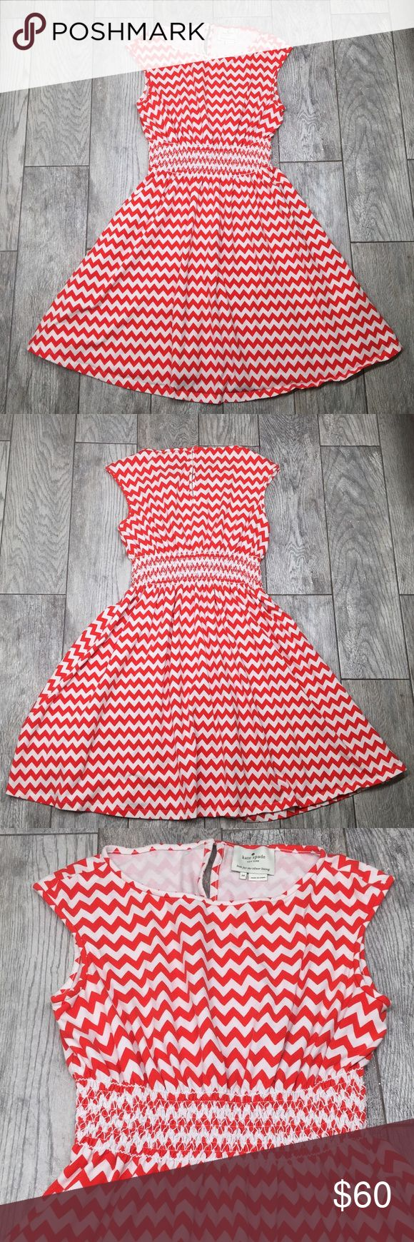 """Kate Spade Leora orange chevron dress Kate Spade Leora dress in Orange and white chevron. Cap sleeve cotton dress with nice stretch, nipped with wide, smocked waistline. Back keyhole with button and loop closure. EUC- no flaws or damage. Size medium. 39"""" length kate spade Dresses"""