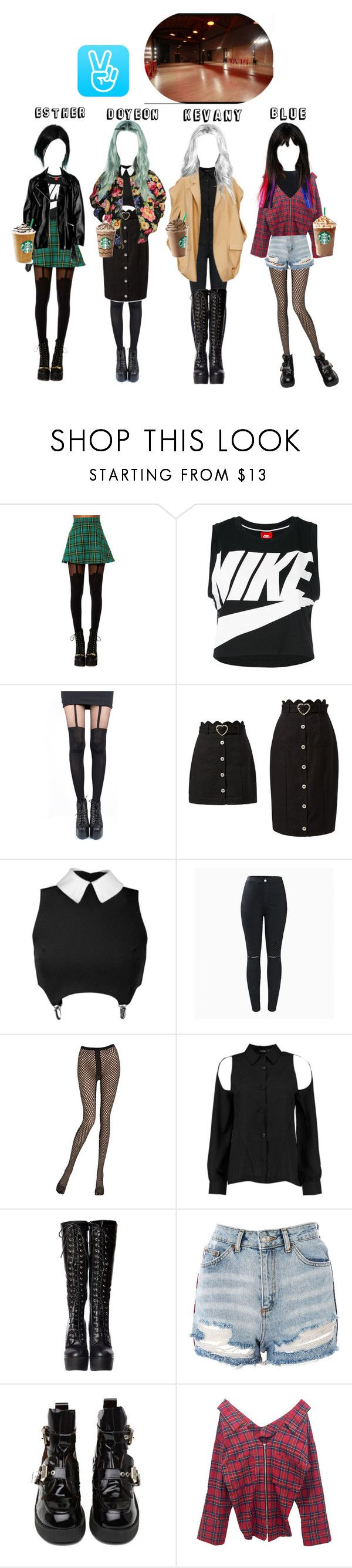 """""""V live : Q&A"""" by officialdlxx ❤ liked on Polyvore featuring Foot Traffic, NIKE, Jean-Paul Gaultier, Pretty Polly, Emilio Cavallini, Boohoo, Topshop, Jeffrey Campbell and Edward Crutchley"""