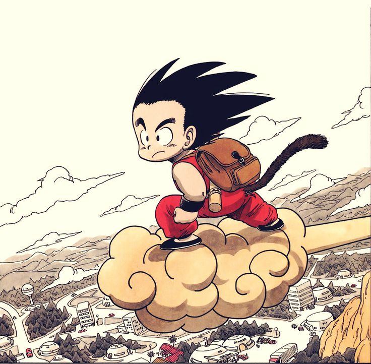 an original illustration from akira toriyama's dragonball.  i love the colors.