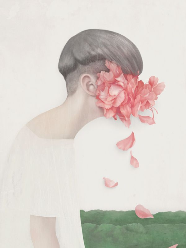 portraits - Hsiao Ron Cheng  once again the simple colours are highlighted by bold ones, here the relationship between nature and humans are depicted through the use of colour