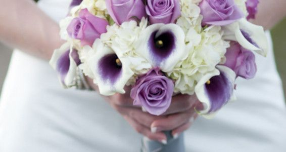 Picasso Calla Lily, Cool Water Purple Rose, Hydrangea Bridal Bouquet