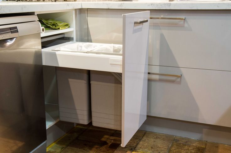 Bin drawer. Contemporary style kitchen. www.thekitchendesigncentre.com.au
