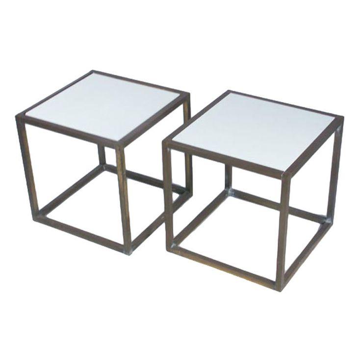Paul McCobb Pair of Brass and White Plexiglass Tables