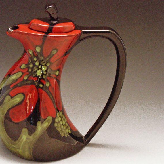 Floral Ceramic Teapot - Red Poppy. very interesting
