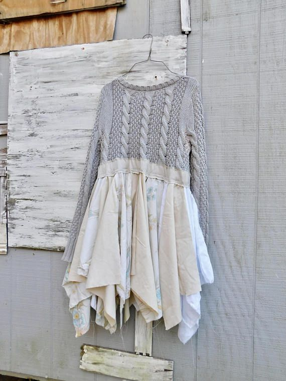 This would be a gorgeous dress for a music festival or just a great dress for a night out or a special occasion. Made from tattered cottons and a beautiful cotton gray sweater bodice. It has beautiful inlays of lace behind the cutouts. SIZE - Small - Medium Chest - 16 across front lying