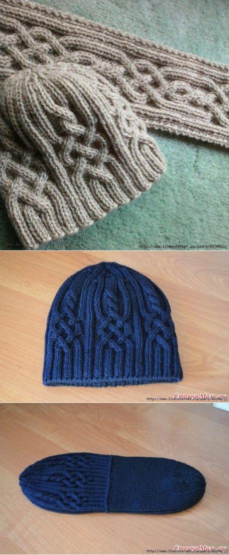 "зимняя шапочка ""Snowtracks Cap"" спицами"