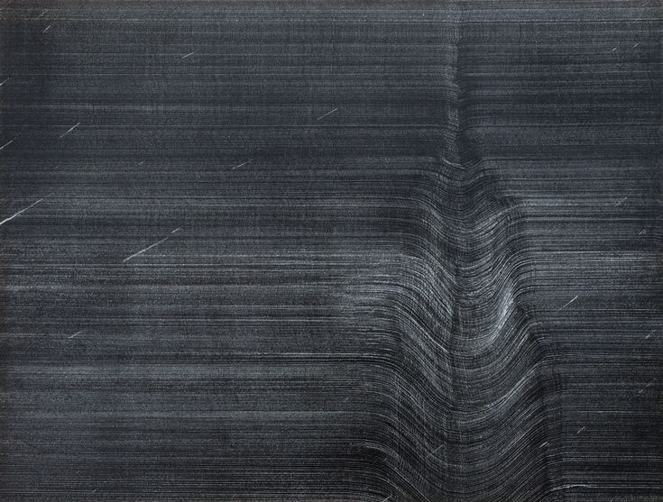 Otto's work at this time was solely in pencil; thousands of minute, individual graphite marks worked up into dense, iridescent masses, or left as light, scattered flecks across the sheet. Otto was also working for a Baltimore television station at this time, and his days spent surrounded by the technology and machines of this business had a distinct influence on his work.