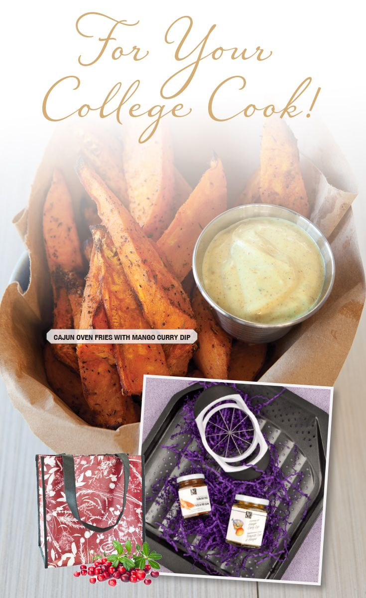 Fancy Fries Gift Collection (Wedger, Crisper, Seasoning for Cajun Oven Fries, Seasoning for Mango Curry Dip, Large Cranberry Gift Bag)