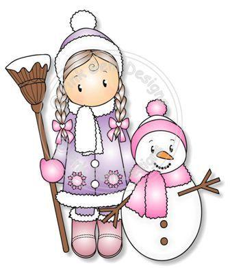 Numérique (Digi) Chloe & timbre de bonhomme de neige. Cartes de Noël rend mignon