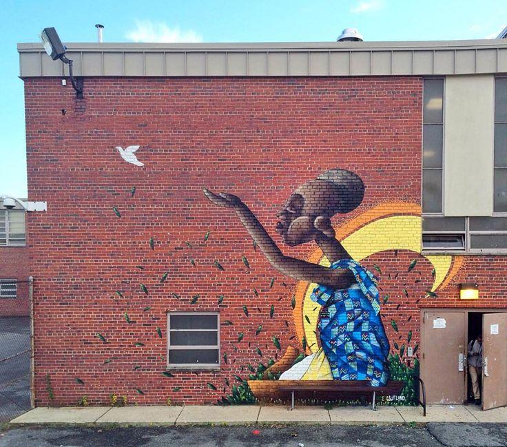 "Alexandre Keto in Forestville, Maryland ""Suitland High School in Forestville - MD 11/2015 #alexandreketo #ketosuitland #art #graffiti #streetart #mural #ingf #suitland #forestville #usa #africa…"""