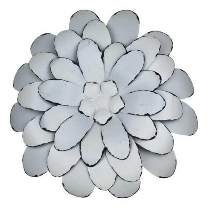 Home :: Metal Wall Art :: Flowers, Leaves & Trees :: Metal Wall Art Fleur Snow Large Set of 2