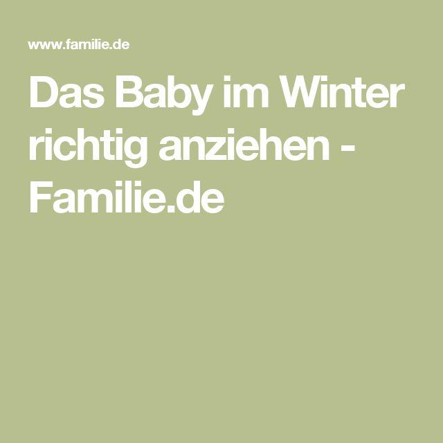 Das Baby im Winter richtig anziehen - Familie.de